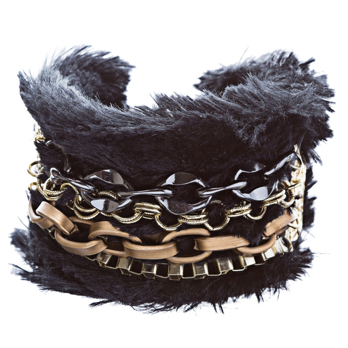 Multi Chain Soft Fur Cuff Bangle Bracelet Black