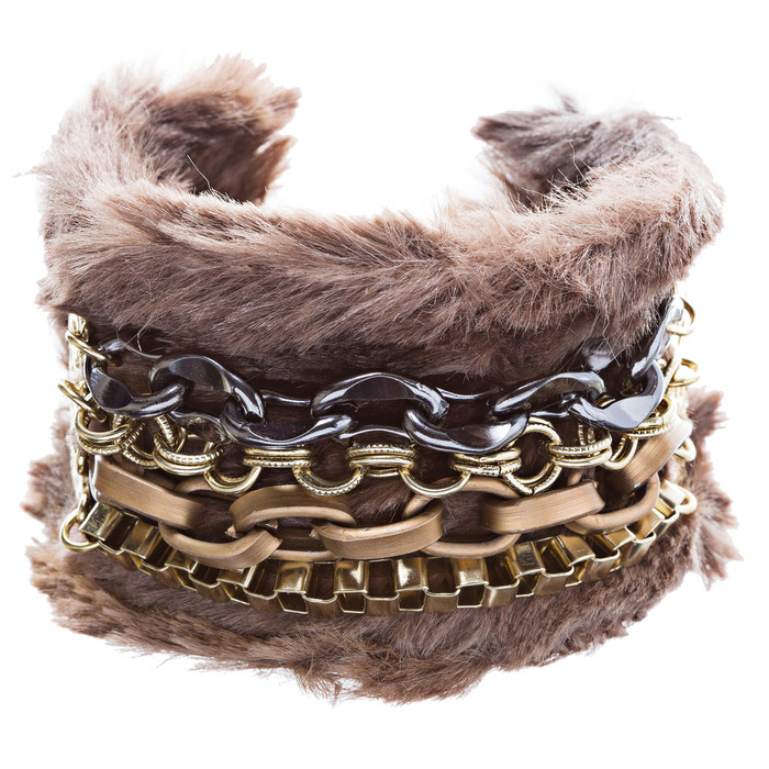 Multi Chain Soft Fur Cuff Bangle Bracelet Brown