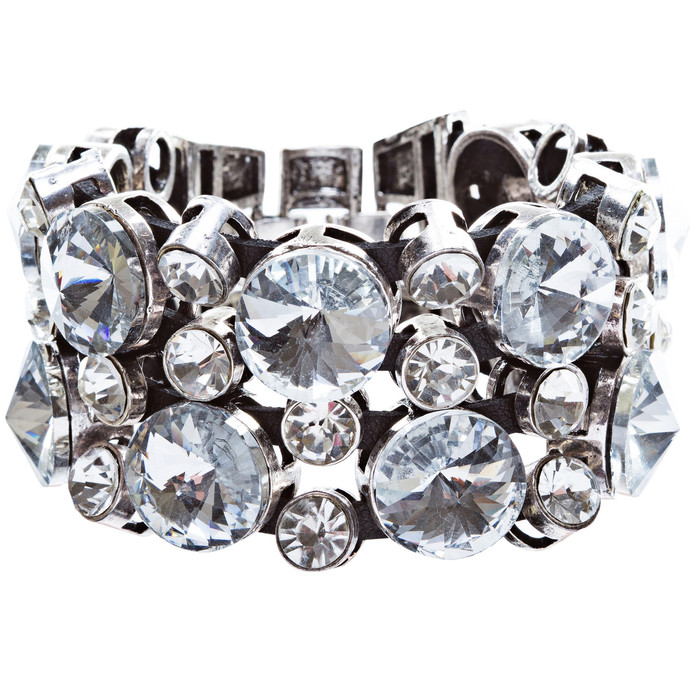 Bubble Crystal Strap Fashion Bracelet Silver Clear
