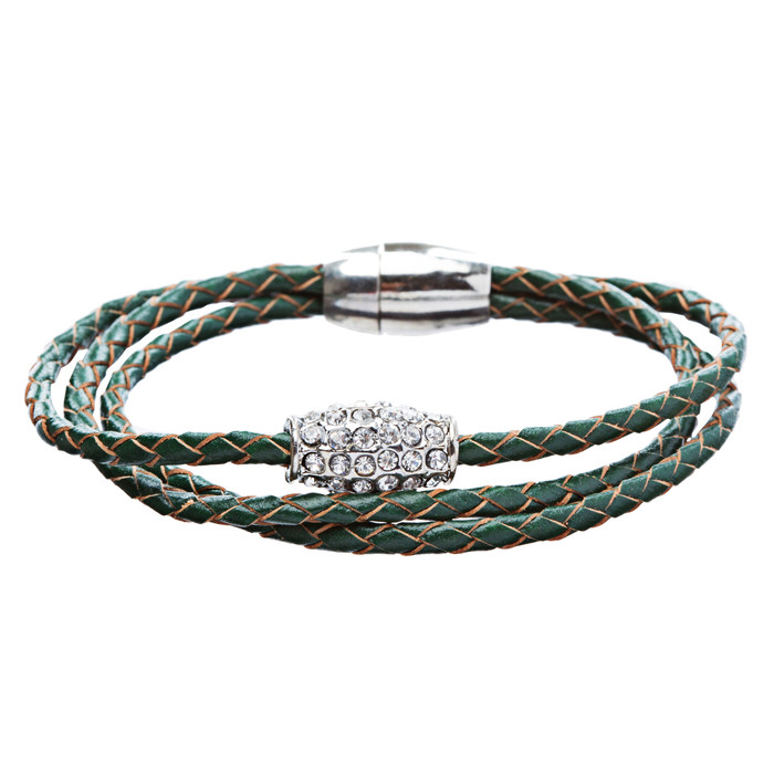 Braided Leather Pave Crystal Magnetic Closure Triple Rows Wrap Bracelet Green