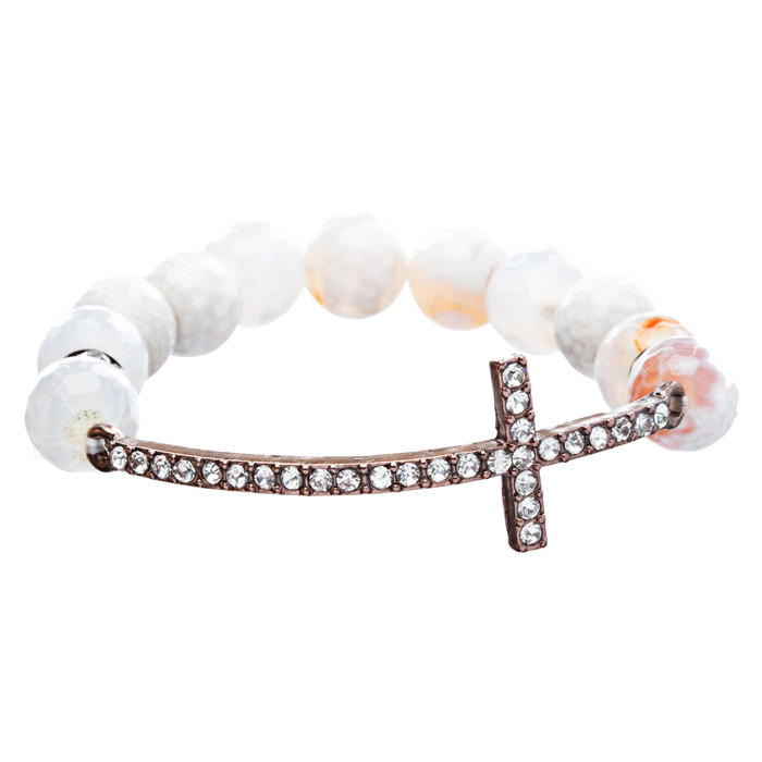 Beaded Faceted Crystal Rondelle Copper Cross Charm Fashion Stretch Bracelet