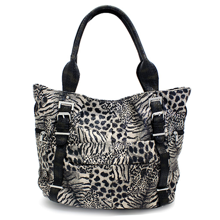 Multi Animal Print Leopard Zebra Giraffe Faux Leather Tote Handbag Bag Black