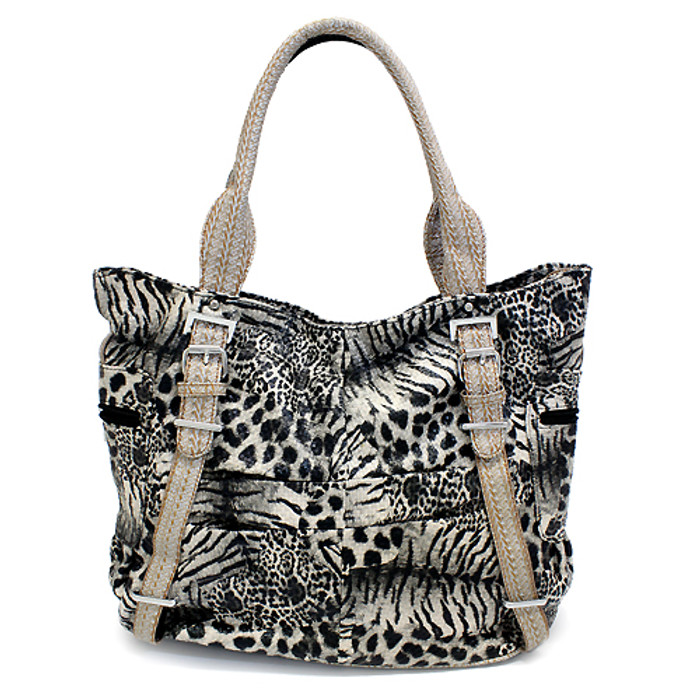 Multi Animal Print Leopard Zebra Giraffe Faux Leather Tote Handbag Bag Beige