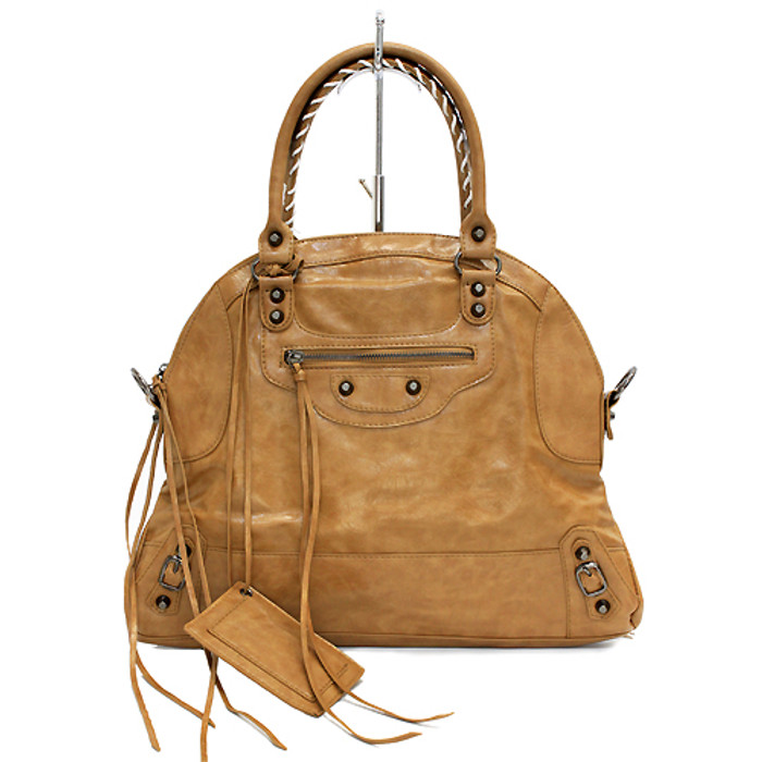 Faux Leather Leatherette Tassels Washing Design Flat Satchel Handbag Bag Khaki