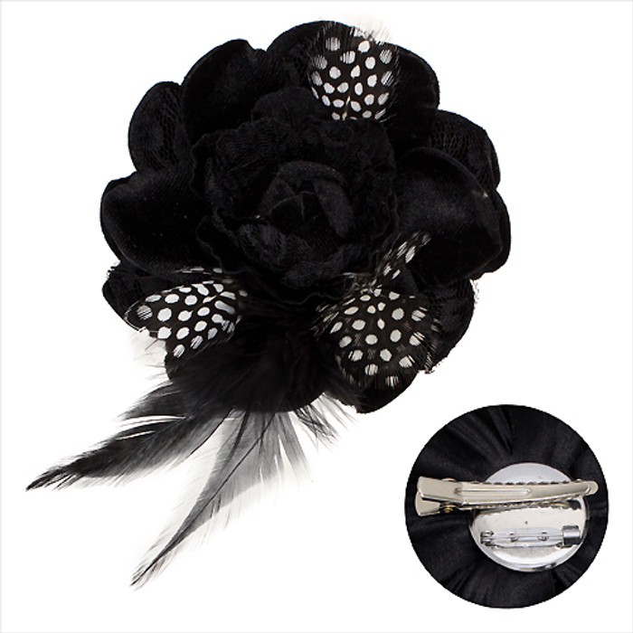 Velvet & Lace Double Layer Feather Flower Corsage Brooch 2 Way Hair Pin Black