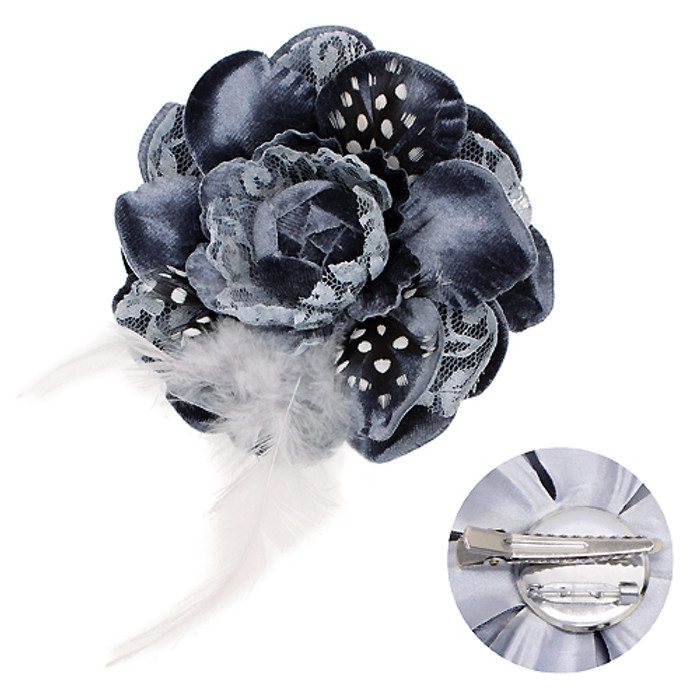 Velvet & Lace Double Layer Feather Flower Corsage Brooch 2 Way Hair Pin Gray