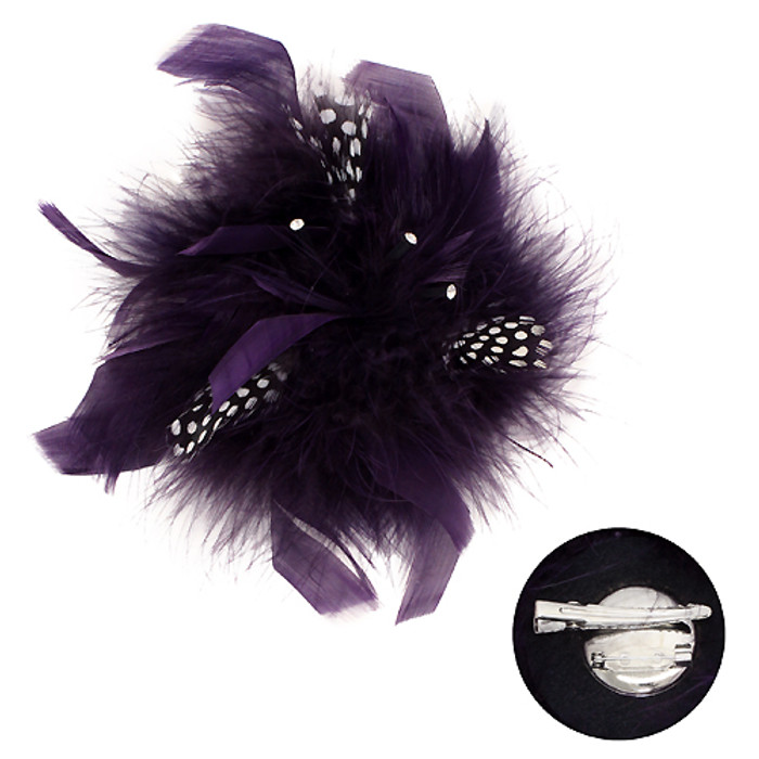 Feather Big Flower Corsage Fashion Brooch 2 Way Hair Pin Beautiful Purple