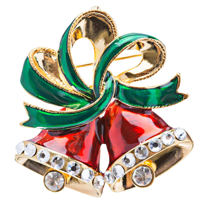 Christmas Jewelry Red Bells Green Ribbon Gold Tone Holiday Crystal Charm Brooch
