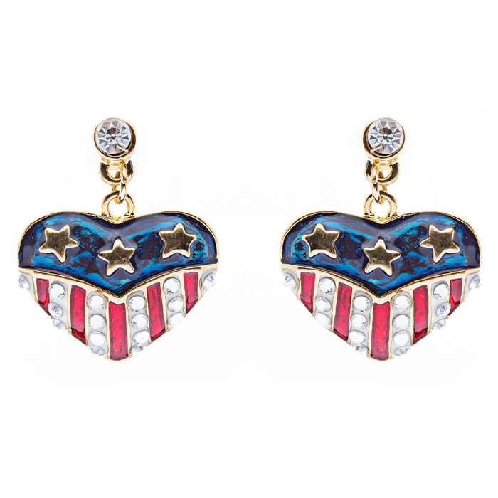 Patriotic American Flag Crystal Rhinestone Heart Charm Dangle Earrings Gold