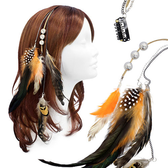 Feather Beaded Hair Extension Mini Hair Clip Comb Leather Cord Orange Black