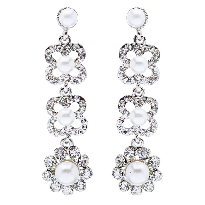 Bridal Wedding Jewelry Rhinestones Pearl Floral Earring