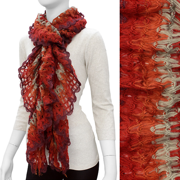 Gorgeous Unique Multi Color Ruffle Knit Fashion Scarf Red