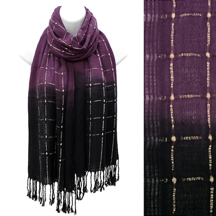 Beautiful Chic Black Ombre Woven Fringe Fashion Scarf Purple