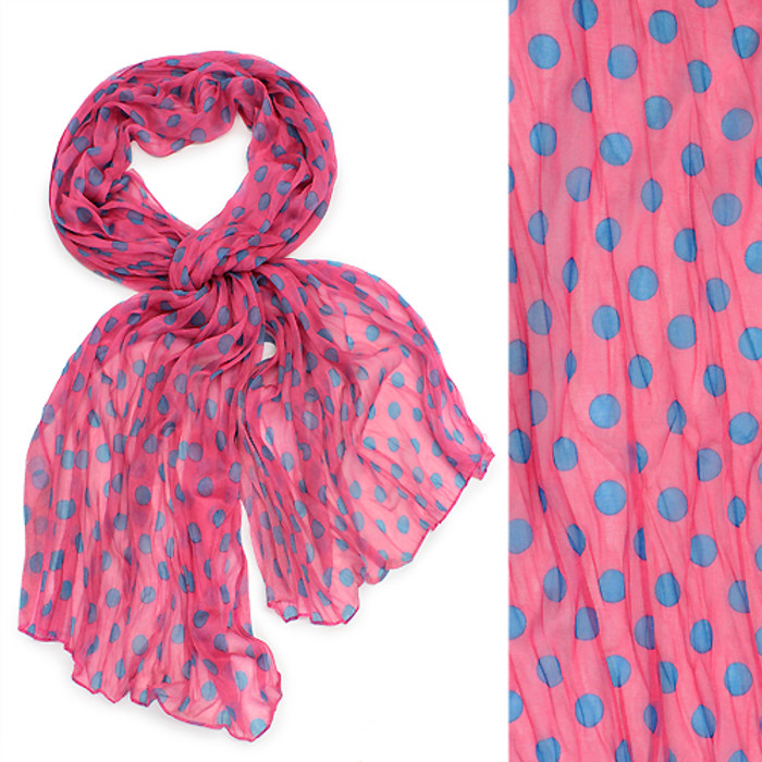 Adorable Sweet Polka Dot Pattern Lightweight Fashion Scarf Fuchsia