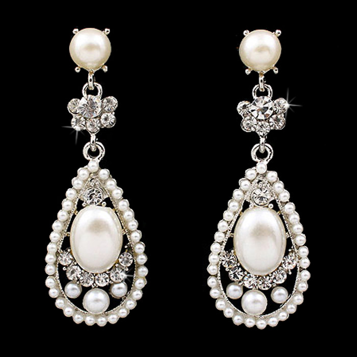 Bridal Wedding Crystal Rhinestone Pearl Teardrop Dangle Earrings Silver Ivory