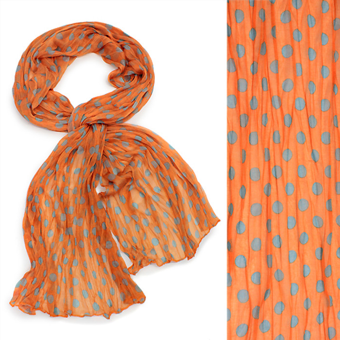 Adorable Sweet Polka Dot Pattern Lightweight Fashion Scarf Orange
