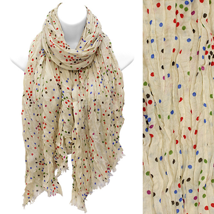 Multi Color Dot Print Wrinkle Shawl Fashion Scarf Beige