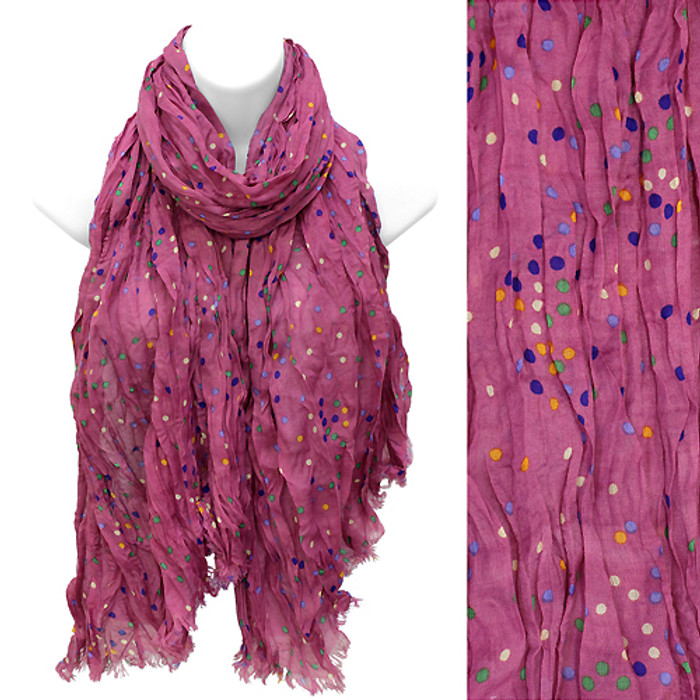 Multi Color Dot Print Wrinkle Shawl Fashion Scarf Fuchsia