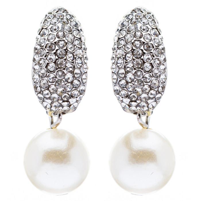 Bridal Wedding Crystal Rhinestone Pearl Drop Dangle Earrings Silver Clear White