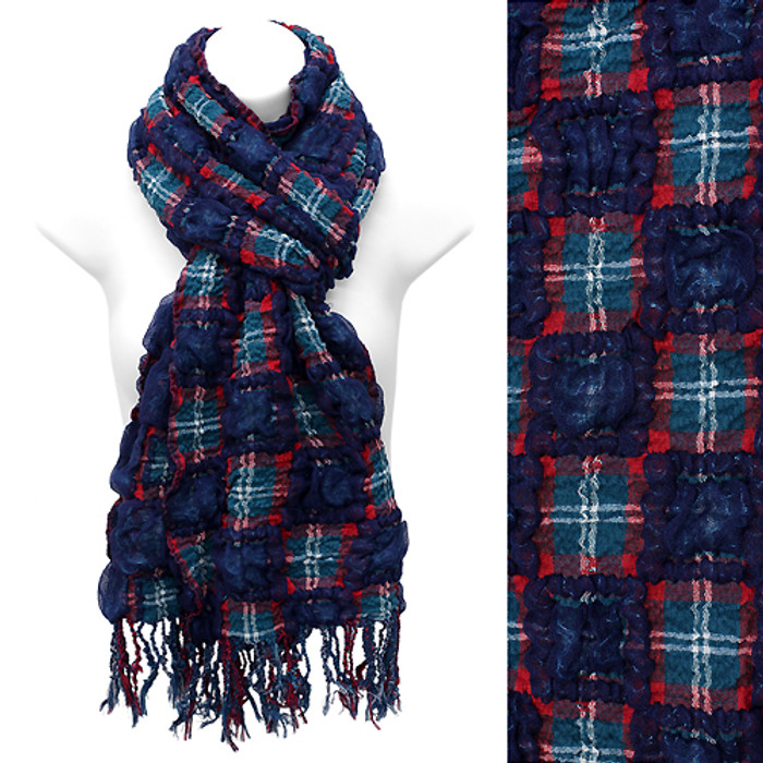 Plaid Block Check Pattern Design Double Side Muffler Scarf Navy Blue