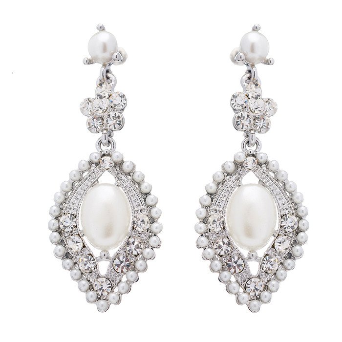 Bridal Wedding Crystal Rhinestone Pearl Elegant Dangle Earrings Silver Ivory