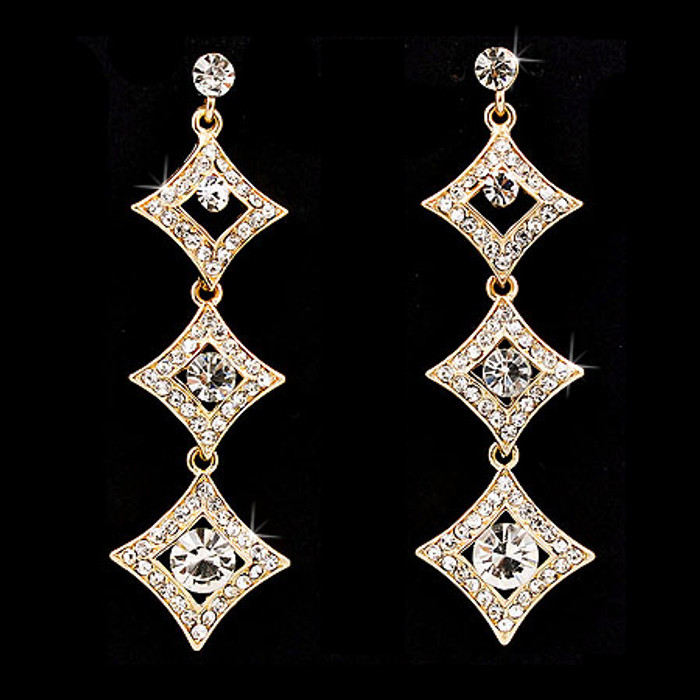 Bridal Wedding Crystal Rhinestone Diamond Link Linear Drop Earrings Gold Clear