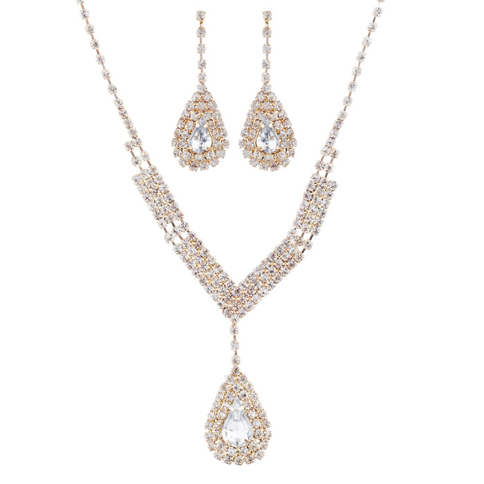 Bridal Wedding Jewelry Set Crystal Rhinestone V Teardrop Necklace Gold