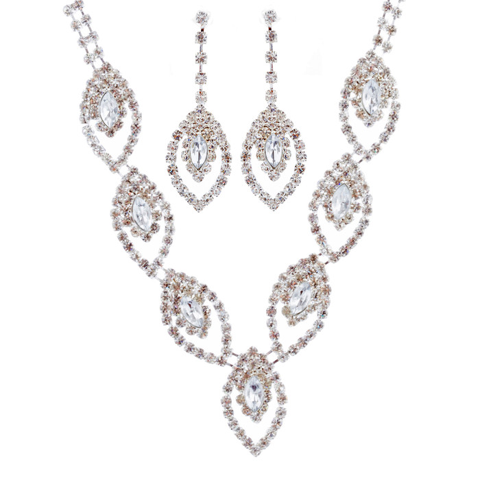 Bridal Wedding Jewelry Set Crystal Rhinestone Navette Design V Drop Silver