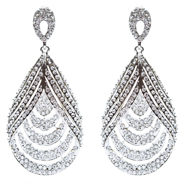 Bridal Wedding Jewelry Brilliant Layered Teardrop Dangle Fashion Earrings Silver