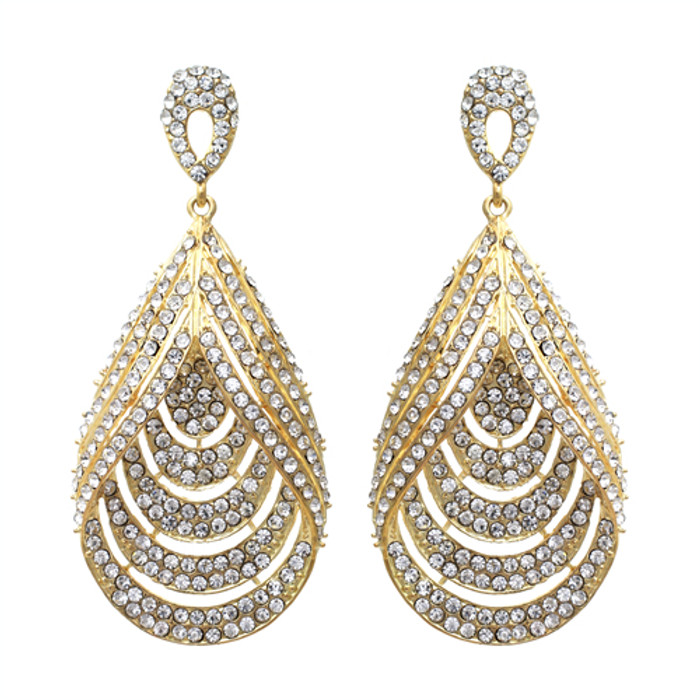 Bridal Wedding Jewelry Brilliant Layered Teardrop Dangle Fashion Earrings Gold
