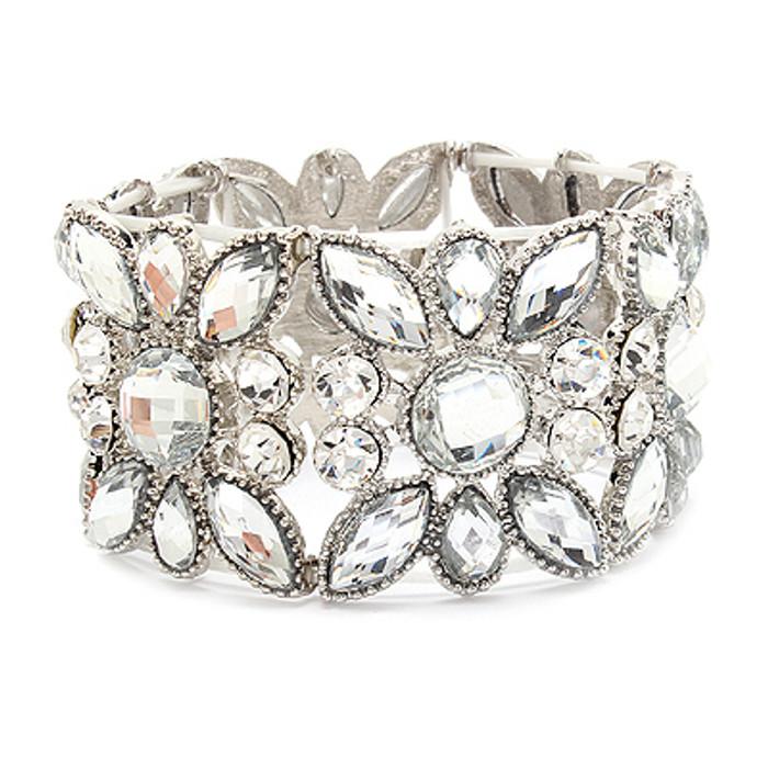 Bridal Wedding Jewelry Multi Shapes Teardrop Fashion Stretch Bracelet Silver