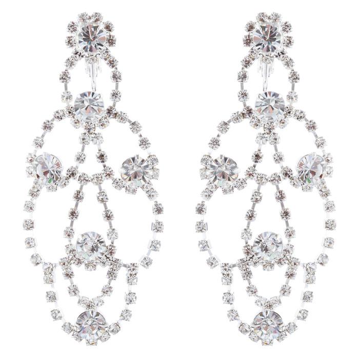 Bridal Wedding Jewelry Crystal Chandelier Drop Earrings Silver Clear