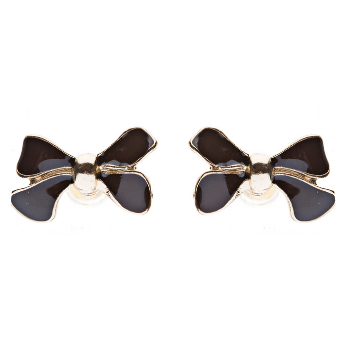 Gorgeous Fashion Ribbon Bow Design Enamel Small Stud Earrings Gold Black