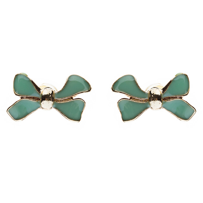 Gorgeous Fashion Ribbon Bow Design Enamel Small Stud Earrings Gold Mint Green