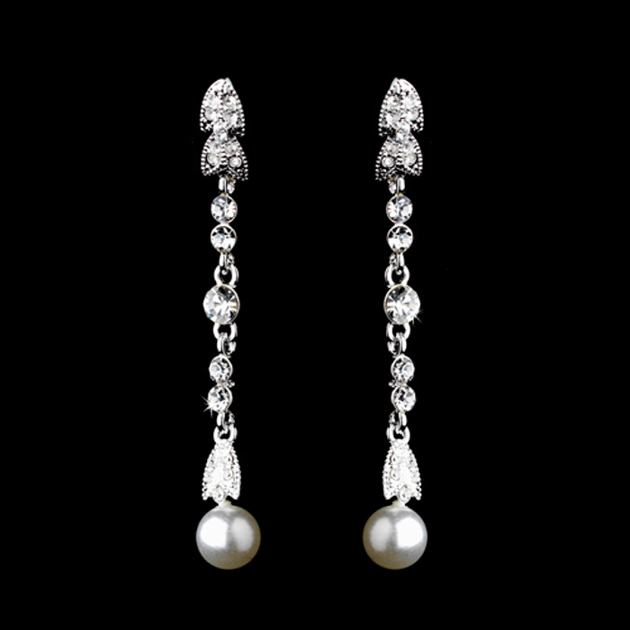 Bridal Wedding Jewelry Crystal Rhinestone Pearl Linear Drop Earring Silver White