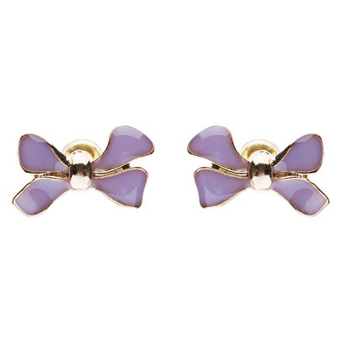 Gorgeous Fashion Ribbon Bow Design Enamel Small Stud Earrings Gold Purple