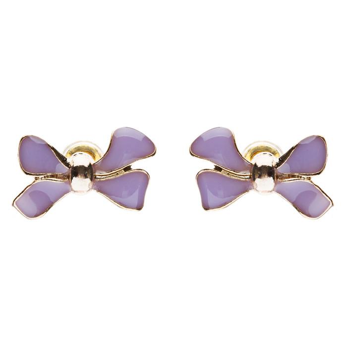 Gorgeous Fashion Ribbon Bow Design Enamel Small Stud Earrings Gold Purple