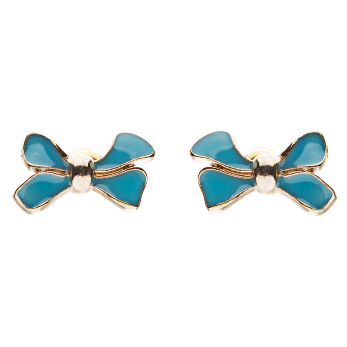 Gorgeous Fashion Ribbon Bow Design Enamel Small Stud Earrings Gold Turquoise