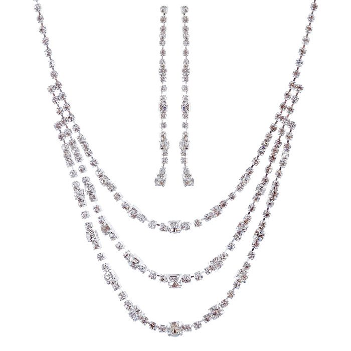 Bridal Wedding Jewelry Set Crystal Rhinestone Simple 3-Strand Drop Necklace SV