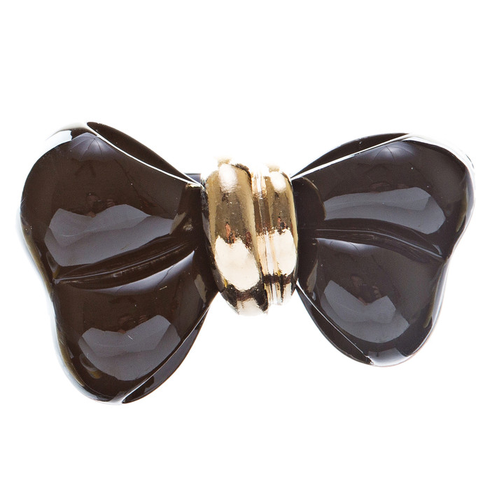 Adorable Cute Epoxy Bow Tie Ribbon Adjustable Stretch Fashion Ring Black