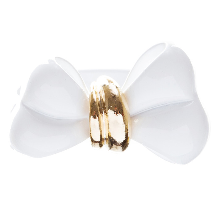 Adorable Cute Epoxy Bow Tie Ribbon Adjustable Stretch Fashion Ring White
