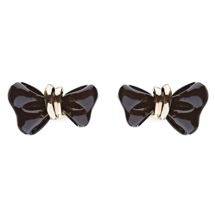 Adorable Mini Ribbon Bow Epoxy Handmade Fashion Stud Earrings Gold Black