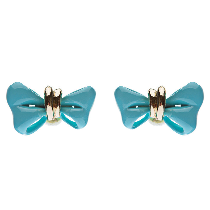 Adorable Mini Ribbon Bow Epoxy Handmade Fashion Stud Earrings Gold Turquoise
