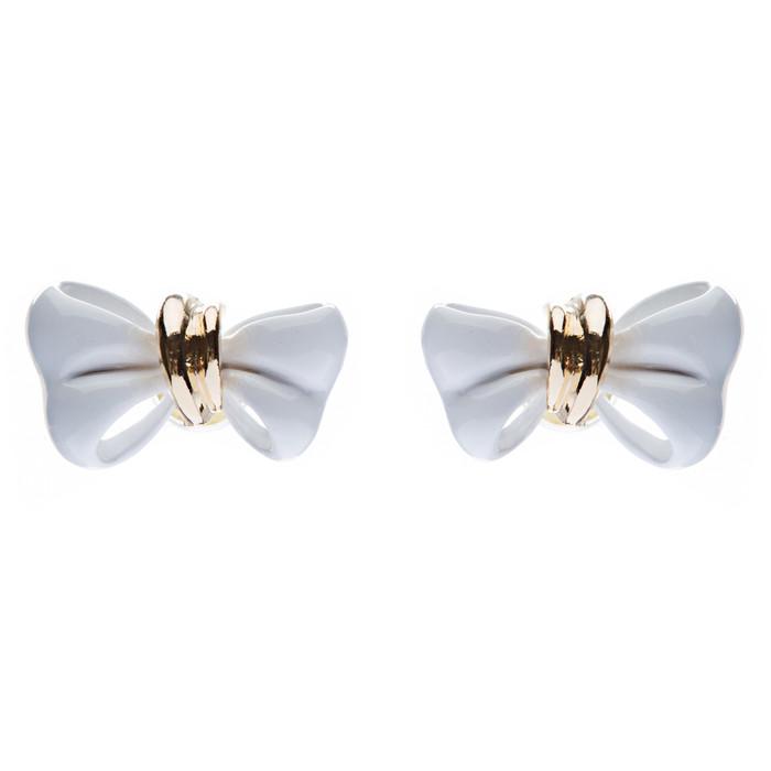 Adorable Mini Ribbon Bow Epoxy Handmade Fashion Stud Earrings Gold White