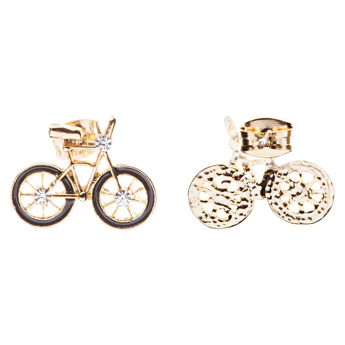 Mini Crystal Rhinestone Bicycle Epoxy Silver Post Fashion Stud Earrings Black