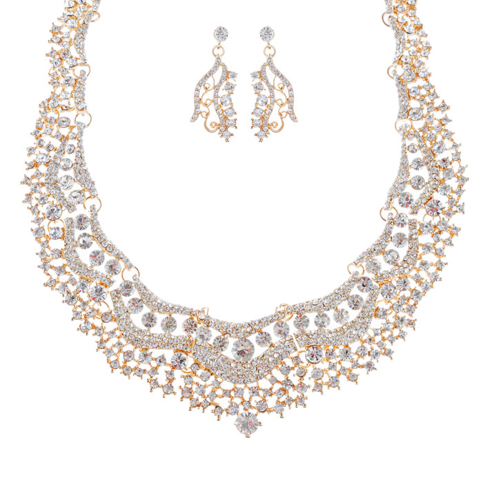 Bridal Wedding Jewelry Set Crystal Rhinestones Stunning Bib Necklace Gold