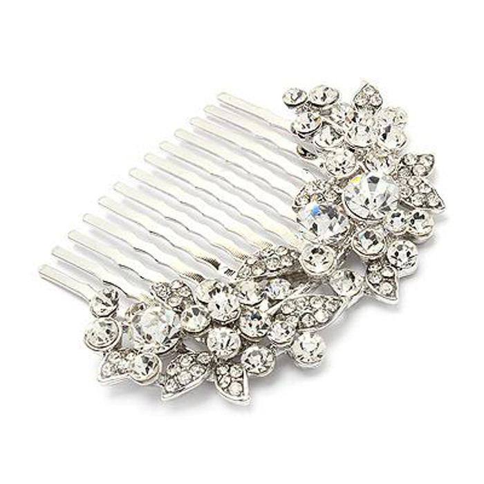 Bridal Wedding Jewelry Crystal Rhinestone Floral Hair Comb Pin Silver Clear