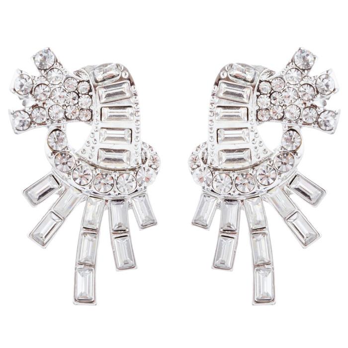 Bridal Wedding Jewelry Unique Crystal Rhinestone Burst Fashion Earrings Silver