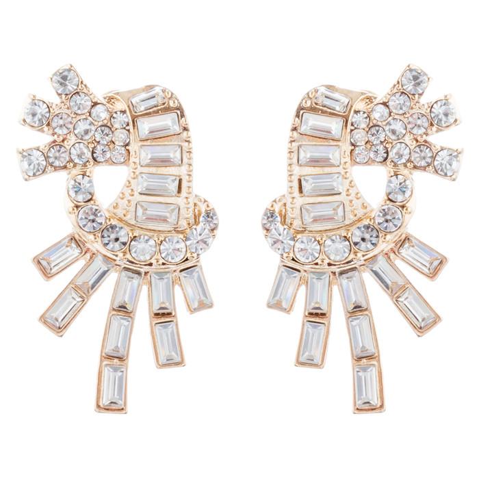 Bridal Wedding Jewelry Unique Crystal Rhinestone Burst Fashion Earrings Gold