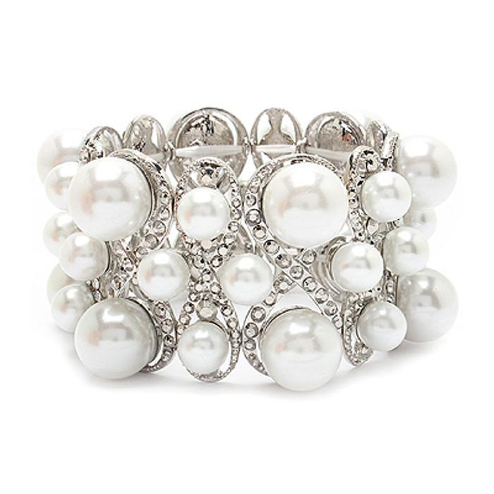 Bridal Wedding Jewelry Multi Shape Pearl Crystal Stretch Fashion Bracelet Silver